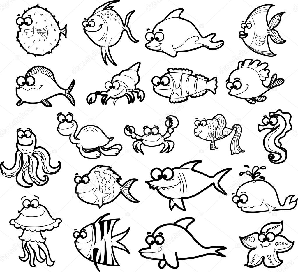 Grand jeu d 39 animaux marins dessin anim image vectorielle virinaflora 18768329 - Dessin d animaux marins ...