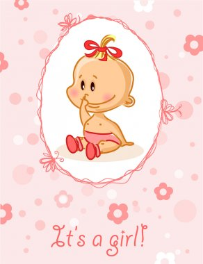 Announcement card with baby girl, vector background