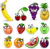 Fotografia frutta e verdura con le emozioni del fumetto