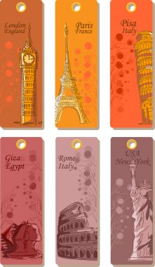 Labels for travel around the world, the vector