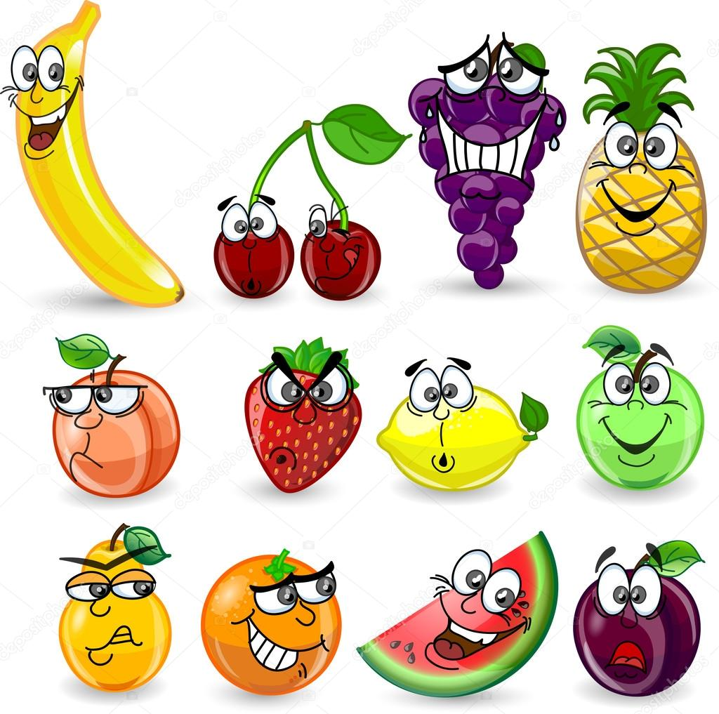 cartoon fruits and vegetables with emotions u2014 stock vector