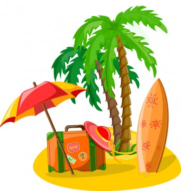 Travel background, palm, surfboard, flip-flops