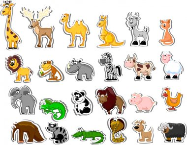 Big set of cartoon animals stock vector