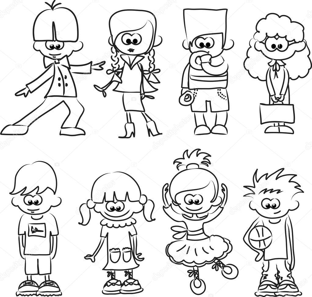 cartoon drawings of children stock vector 20391239