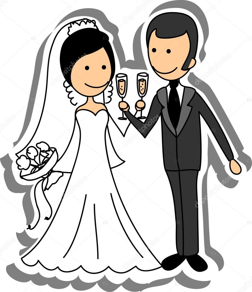 Wedding picture bride and groom in love the vector for Sposi immagini