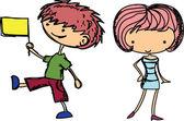 kreslené výkresy módní dětí