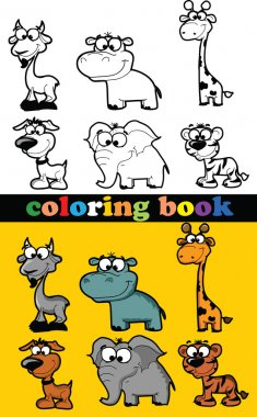 Coloring book of animals, vector