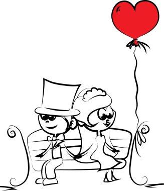 Cartoon wedding picture, background, wedding invitation