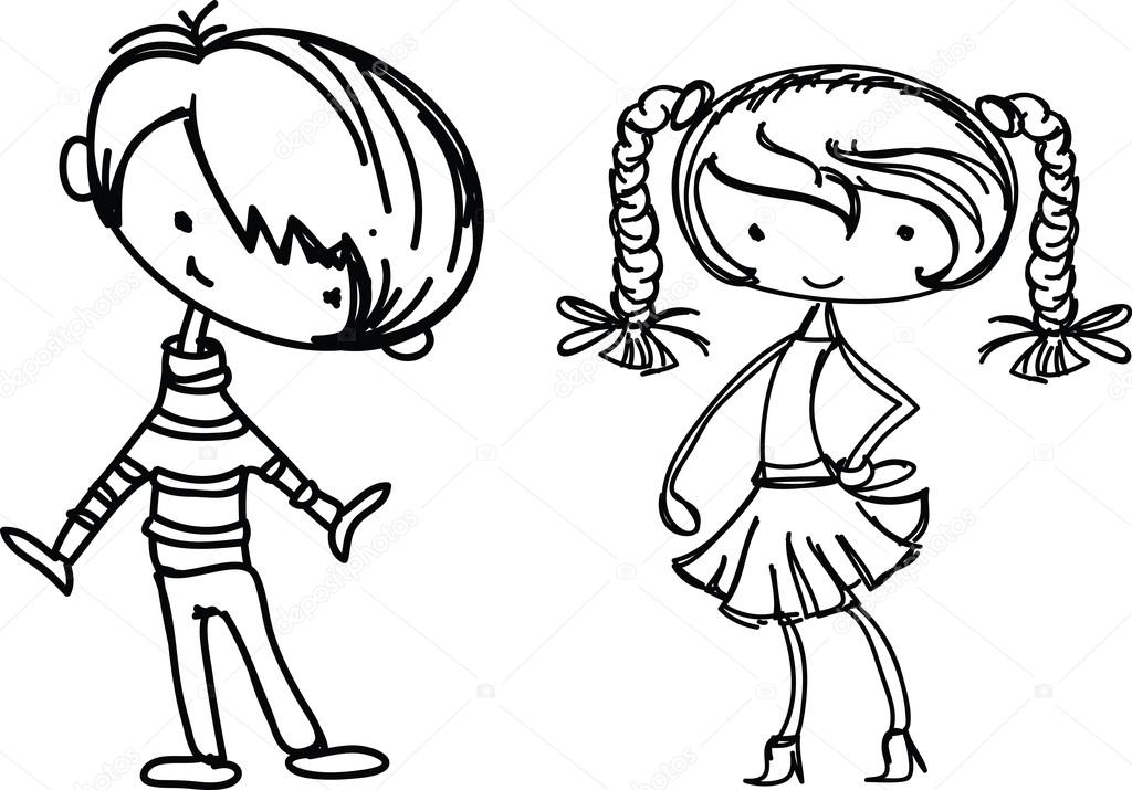 cartoon drawings of fashionable children stock vector 22562447