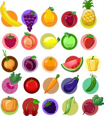 Cartoon vegetables and fruits