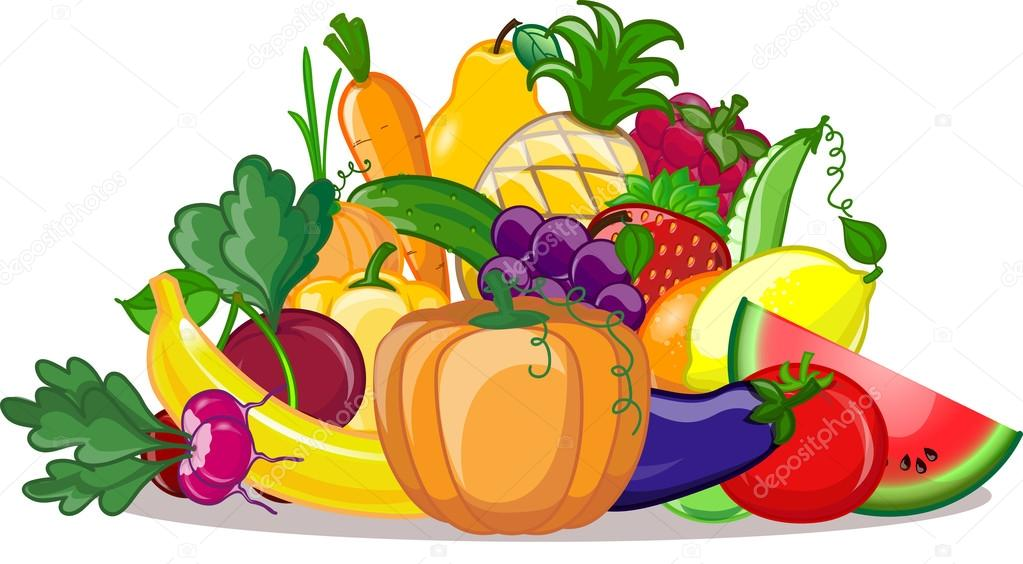 Cartoon vegetables and fruits — Stock Vector © virinaflora 100 олег  самMaljuk #23217048