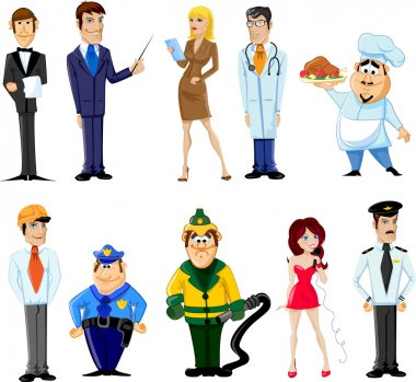 Cartoon characters manager, chef,policeman, waiter, singer, doctor