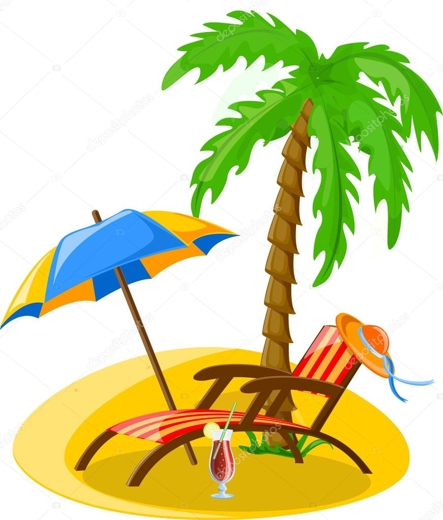 Reise Ikonen Palm Ball Lounge Sonnenschirm Flip Flops Schlager