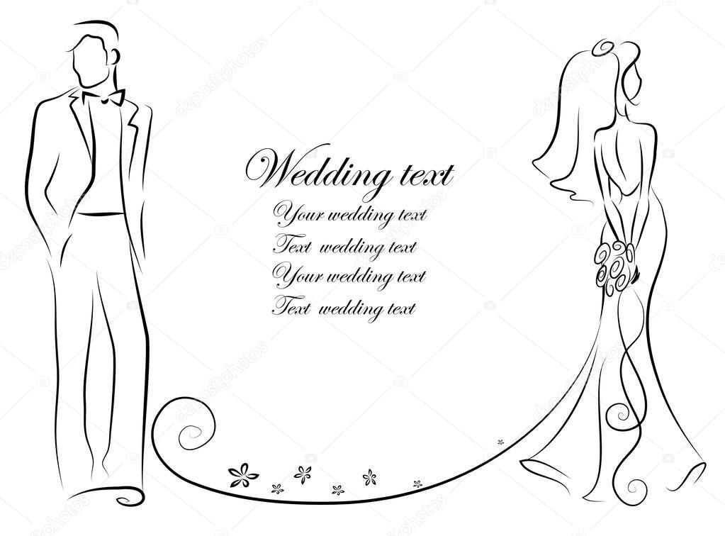 Novia Y Novio Wedding Illustration De La Silueta