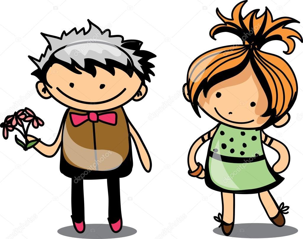Bambini simpatico cartone animato — vettoriali stock