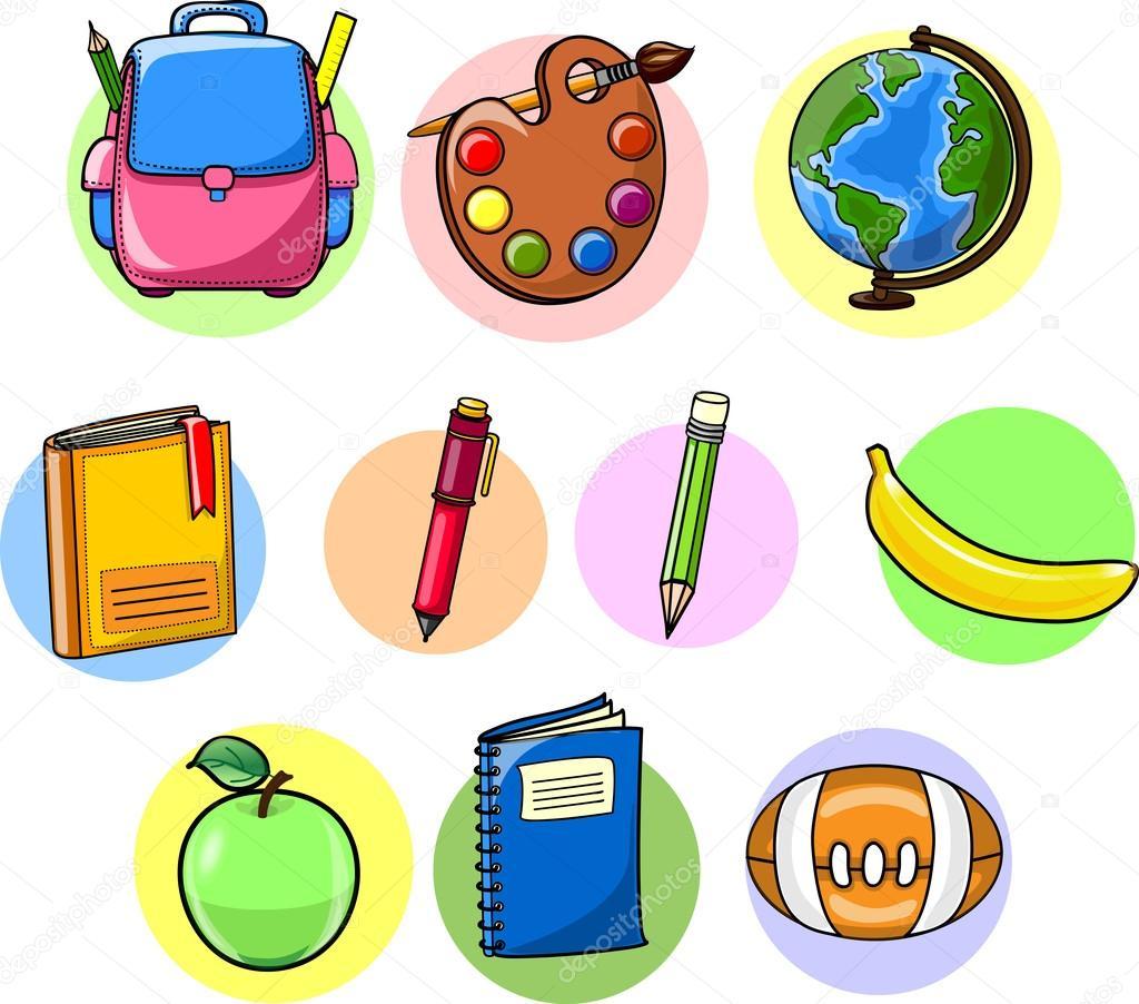 Las cosas de la escuela de dibujos animados — Archivo ...