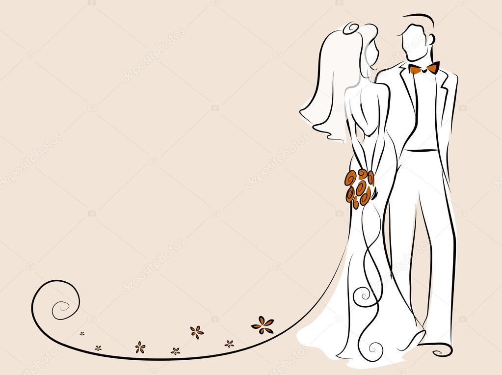 Silueta De La Novia Y Novio Fondo Invitacion De La Boda El Vector - Fondo-invitacion-boda