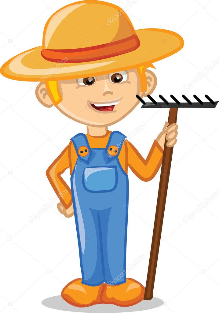 Cartoon character of cute farmer — Stock Vector ...