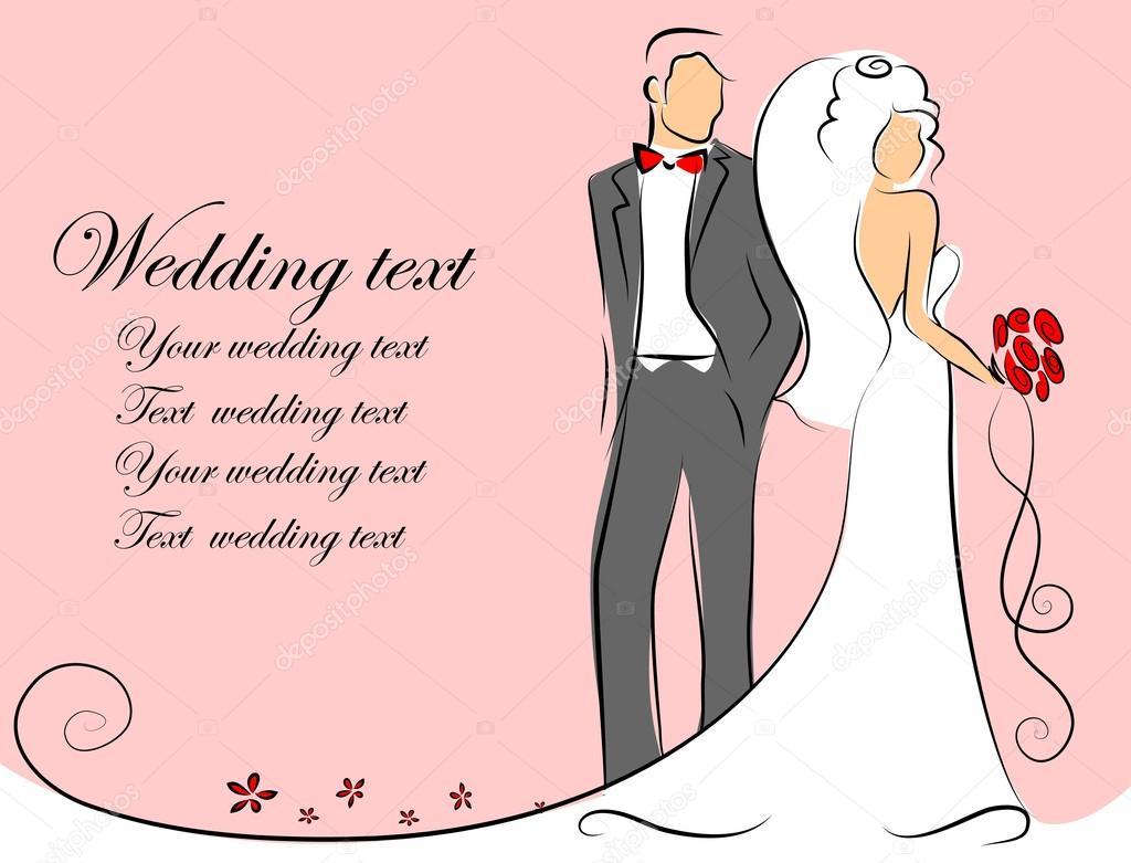 silueta de la novia y novio, fondo, invitación de la boda, el vector ...
