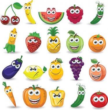 Cartoon fruits and vegetables with different emotions