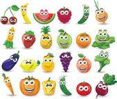 Fotografia cartone animato di frutta e verdura con diverse emozioni