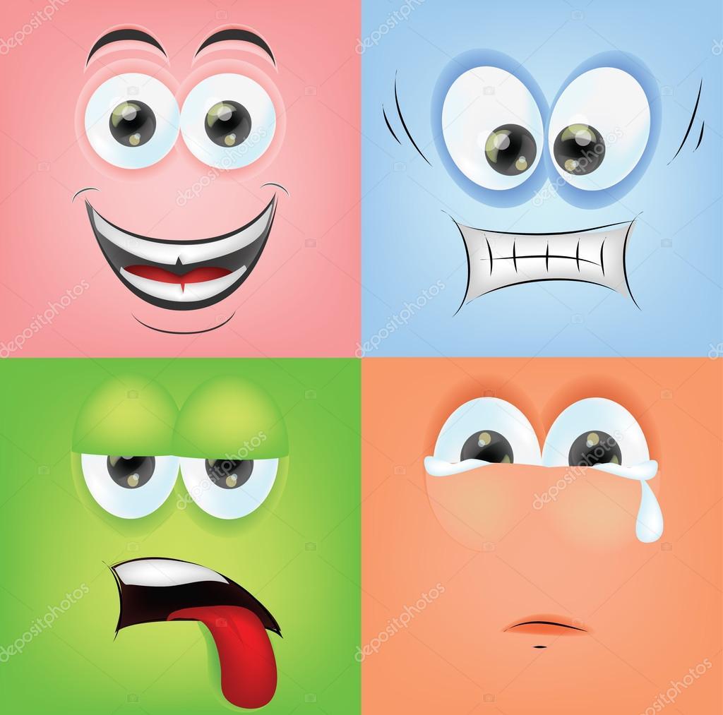 Caras De Dibujos Animados Con Las Emociones Archivo Imágenes