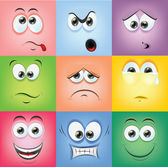 Cartoon faces with emotions