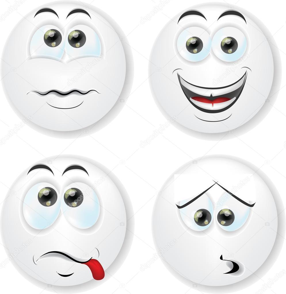 Bien-aimé dessin animé visages avec émotions — Image vectorielle #32484189 GS97