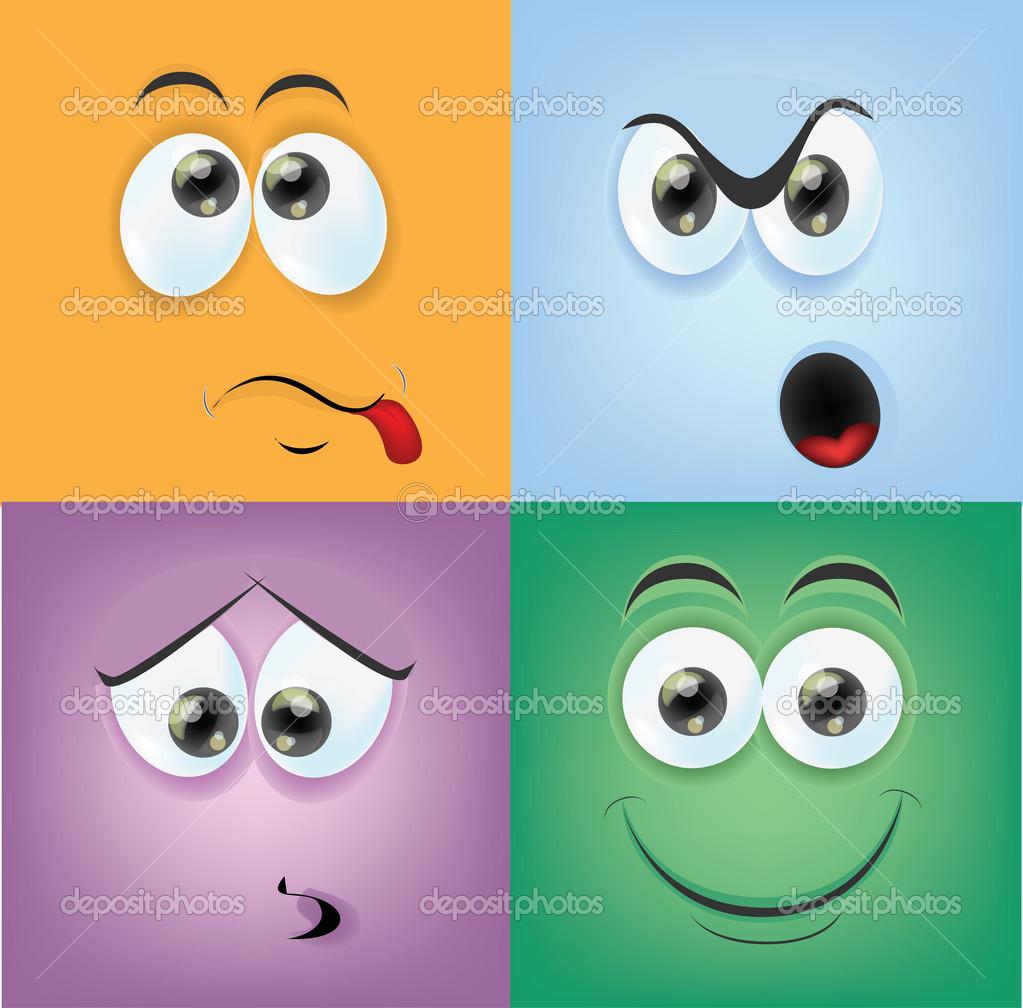 Facce di cartone animato con emozioni u vettoriali stock