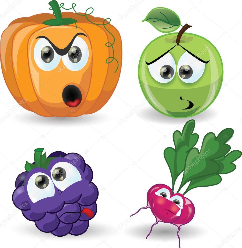 Cartone animato frutta e verdura — vettoriali stock