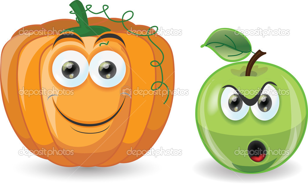 calabaza y manzana de dibujos animados — Archivo Imágenes ...