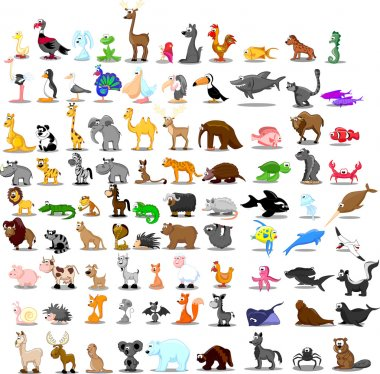 Super set of 91 cute cartoon animals stock vector
