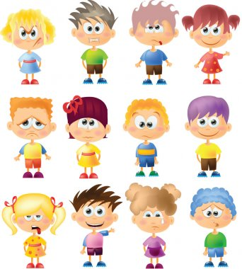 Cute cartoon kids with different emotions