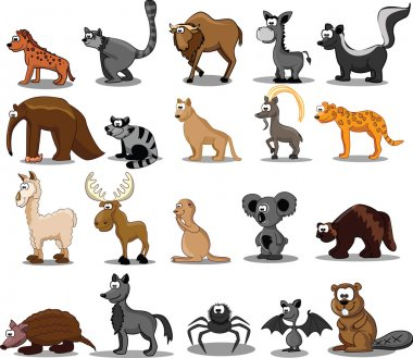 Set of 20 cute cartoon animals