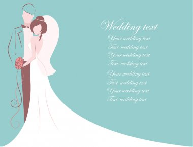 Silhouette of bride and groom, background, wedding invitation, the vector stock vector