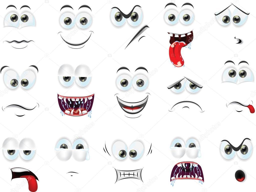 Facce di cartone animato con emozioni — vettoriali stock