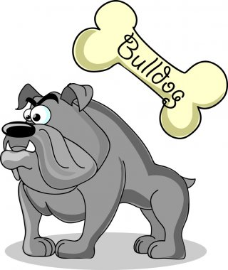 Cartoon dog breed bulldog