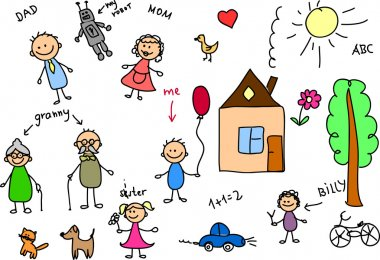 Happy family, children's drawing