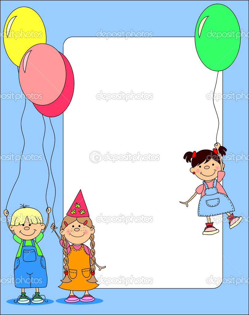 gratulationskort barn barn hålla ballonger, gratulationskort — Stock Vektor  gratulationskort barn