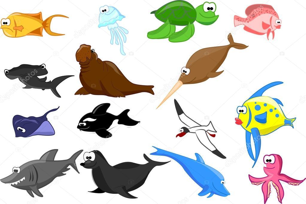 Ensemble d 39 animaux marins dessin anim mignon image vectorielle virinaflora 36347661 - Dessin d animaux marins ...