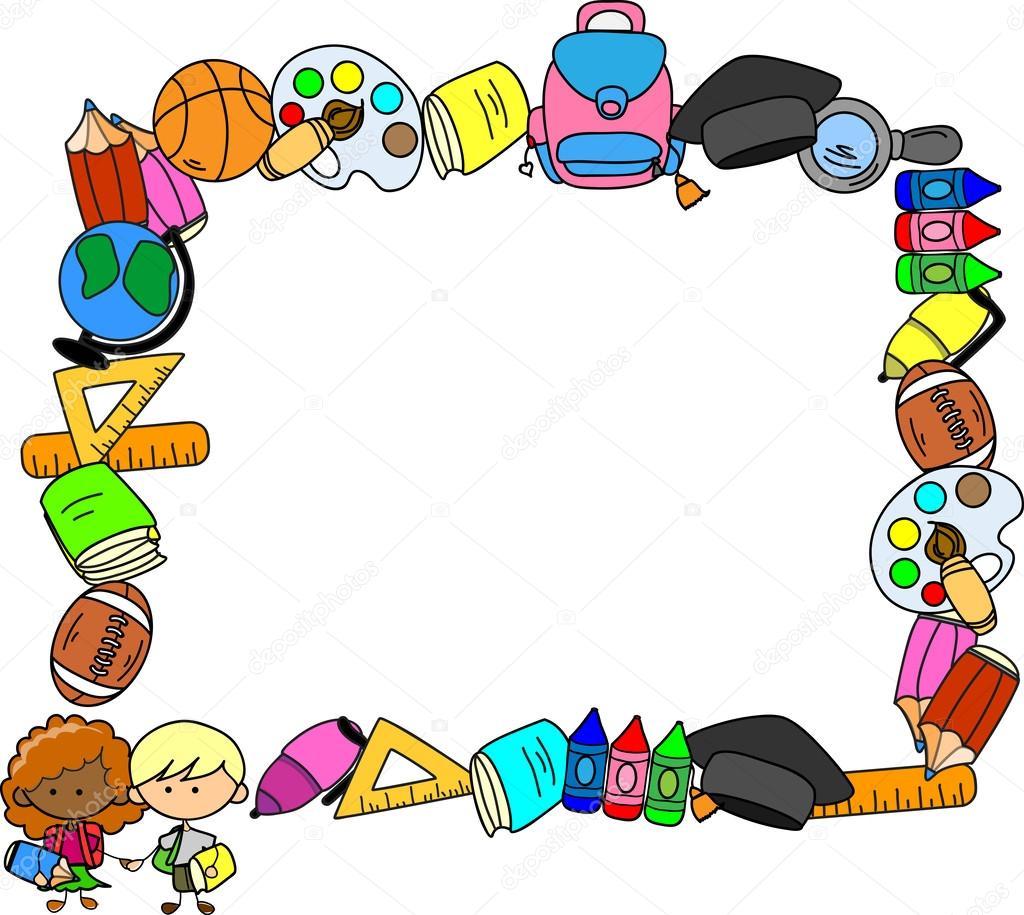 suministros, niños en edad escolar, el marco de la escuela — Archivo ...