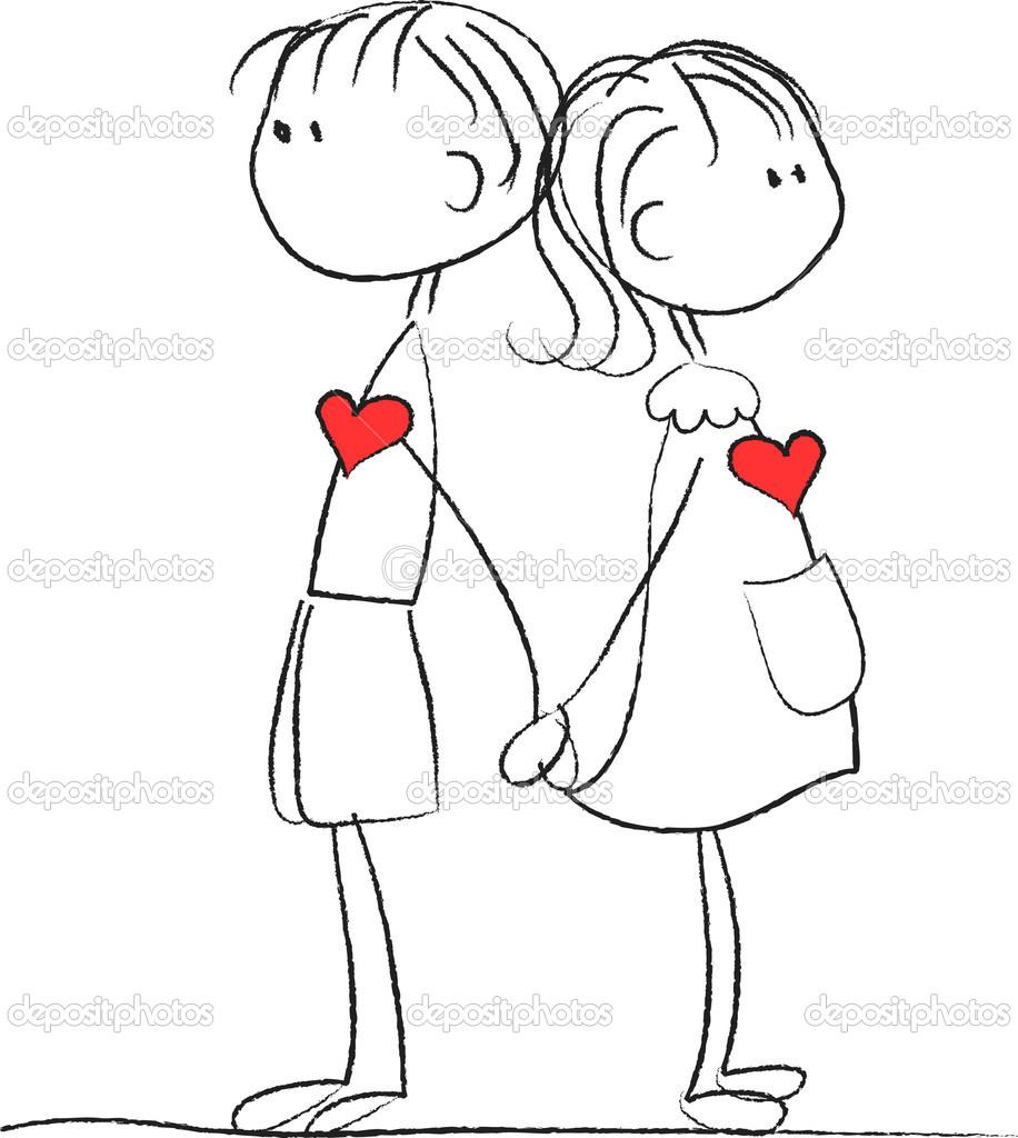 Дню единства, открытка мальчик и девочка держатся за руки