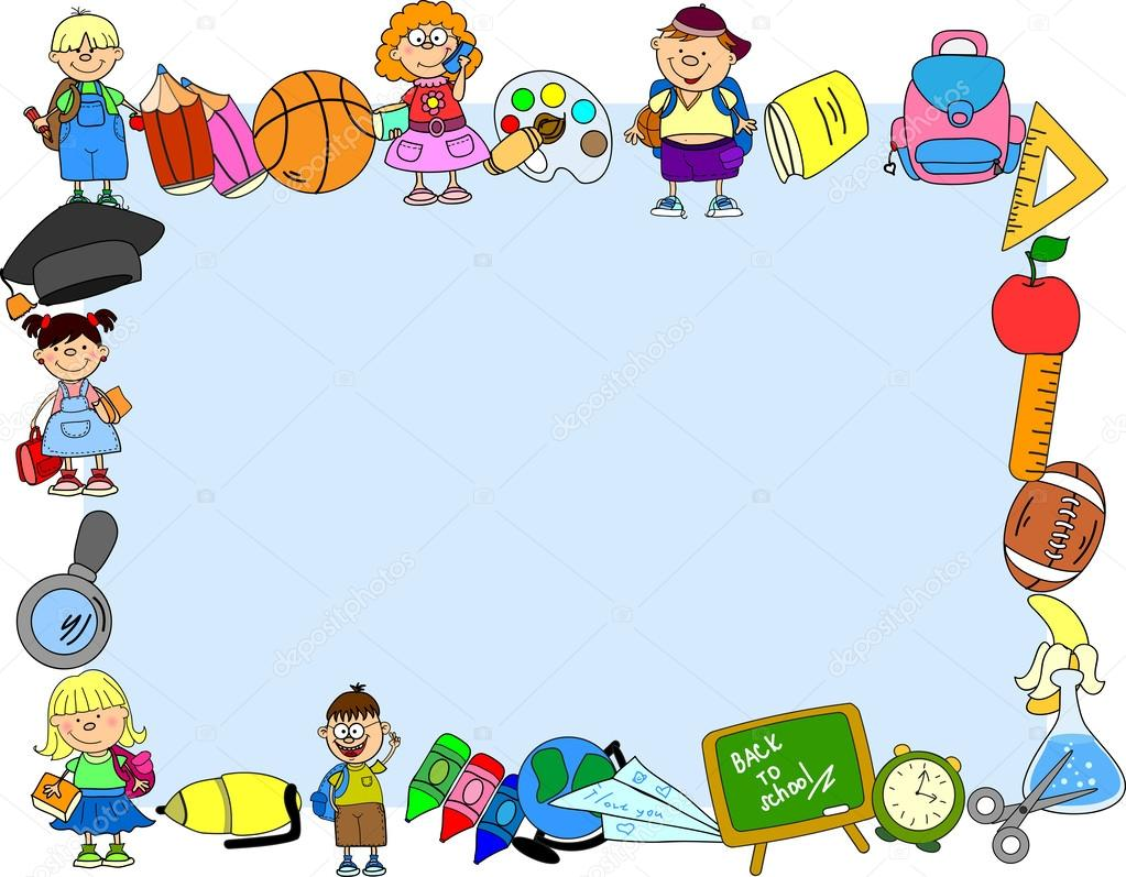suministros, niños en edad escolar, el marco de la escuela — Vector ...