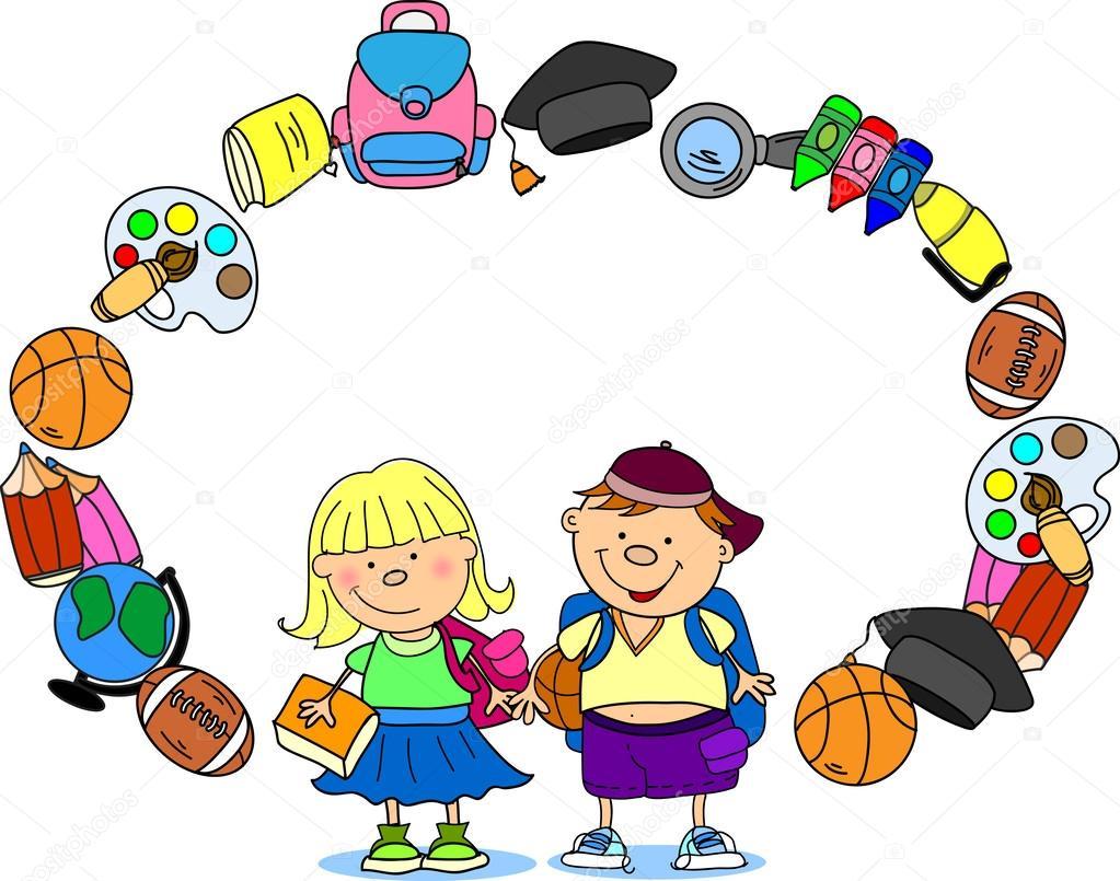 Suministros Niños En Edad Escolar El Marco De La Escuela Archivo