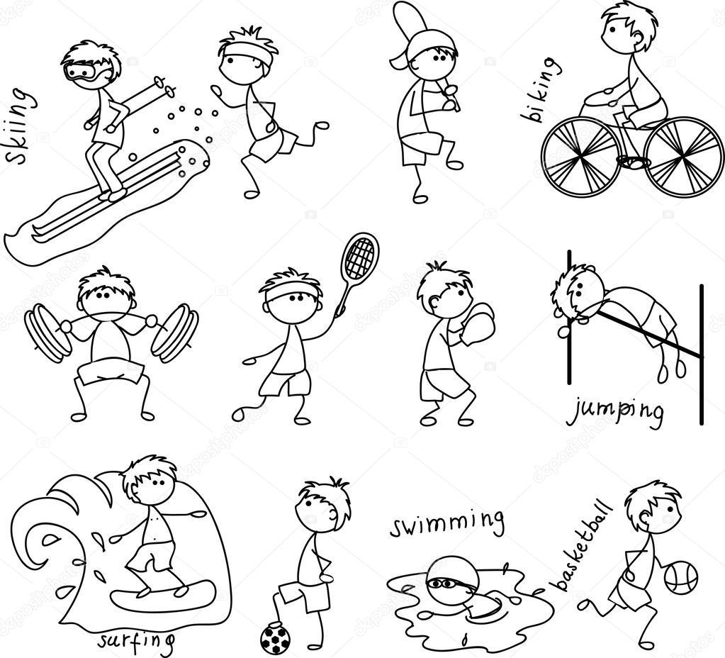 icono del deporte, blanco y negro — Archivo Imágenes Vectoriales ...