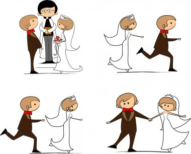 Set of wedding pictures, bride and groom, vector stock vector