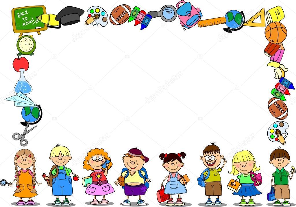 dibujos animados estudiantes y materias escolares, marco de banner ...