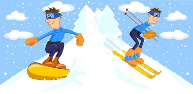 Funny cartoon snowboarder and skier