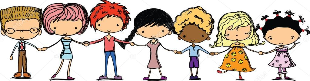Image result for children holding hands cartoon