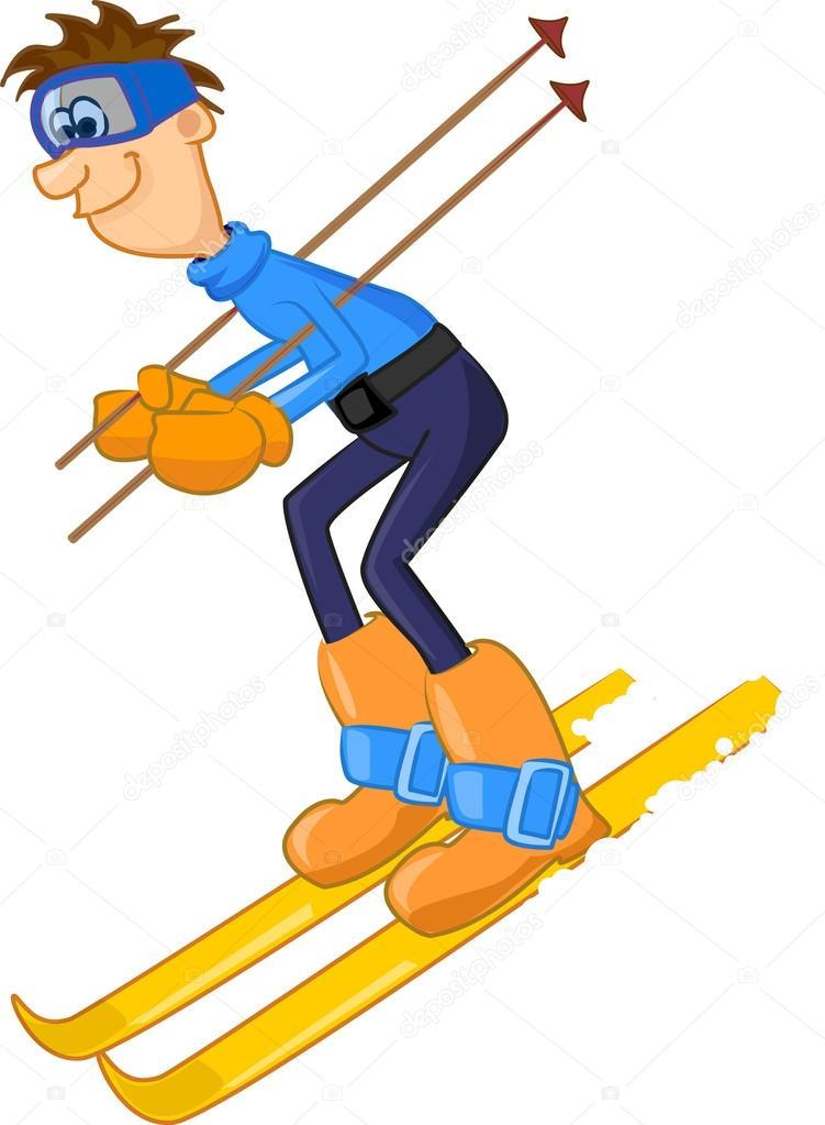 Lustige Karikatur Skifahrer Stockvektor Virinaflora 37447499